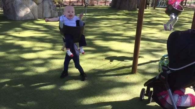 Ellie pushing Jack on the swing [VIDEO]