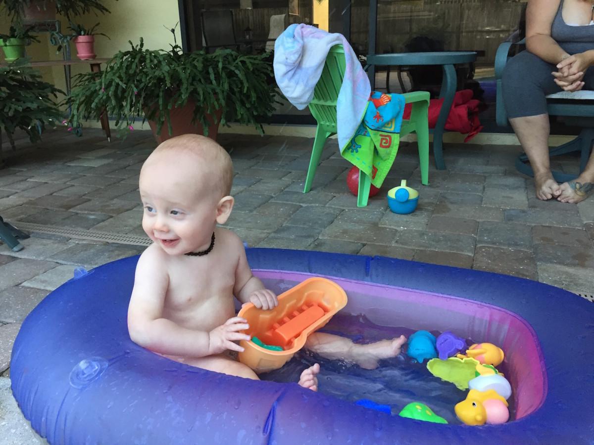 Splashing in his boat