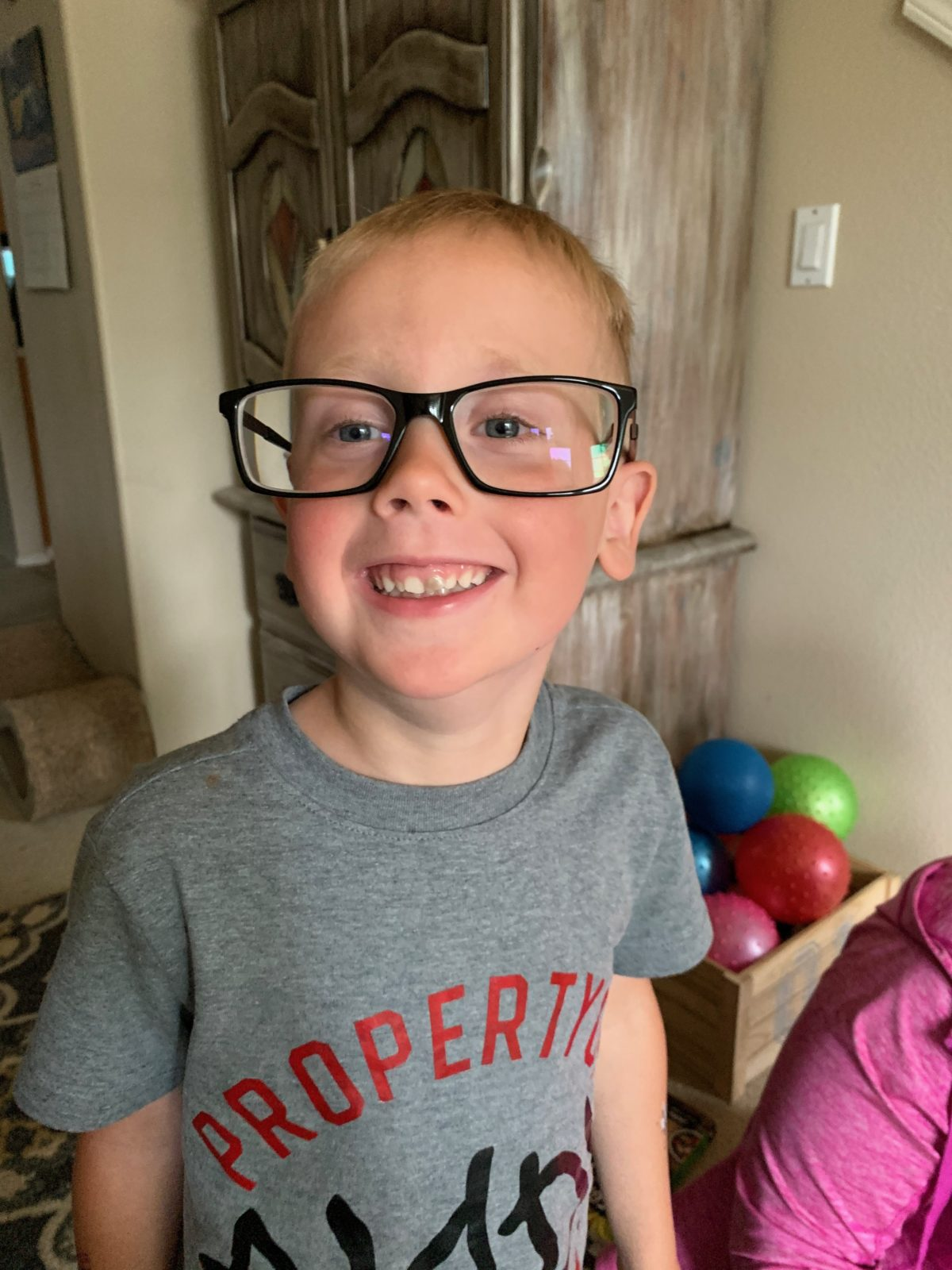 Jack wearing Daddy's glasses